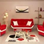 Kırmızı beyaz kelebek oturma grubu