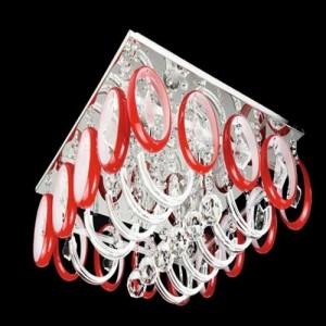 Kırmızı ve beyaz halkalı kristal taşlı avize modeli