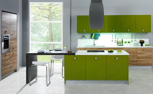 Kelbek yeşil renkli Mutfak dolabı