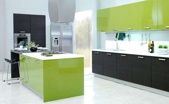 Kelebek Mobilya Melinga Meşe Akrilik yeşil mutfak