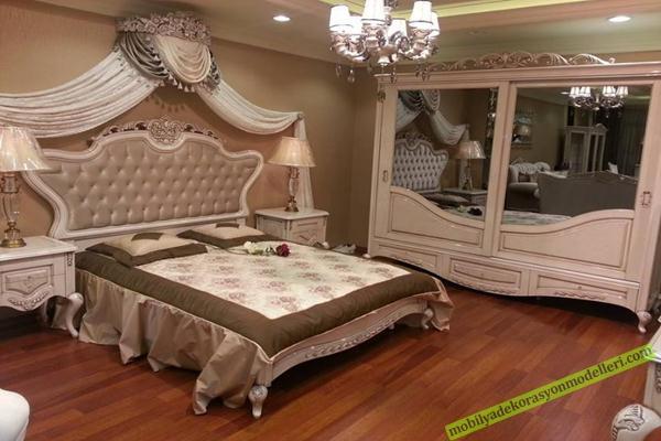 Klasik tasarım antika yatak odası modeli