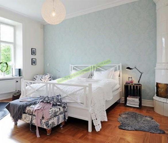 açık mavi renklerinde yatak odası için duvar kağıtları