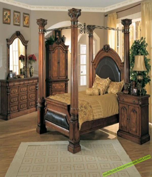 Ahşap antika yatak odası takımları