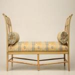 Ahşap desen kumaşlı antika uzun sandalye