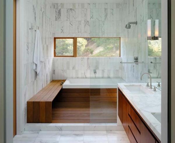 Ahşap dizayn edilmiş banyo tasarımı