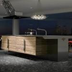 Ahşap kaplama ile tasarlanmış modern japon mutfak dekorasyonu