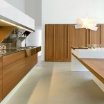 Ahşap modern krem renk laminat mutfak