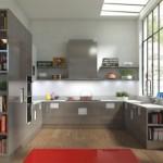 Ahşap zeminki standart gri modern mutfak