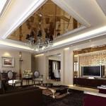 Beyaz tavan üstünde parlam ayna ve avize ışıklandırması ile modern tavan dizaynı