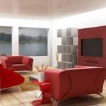 Dekoratif duvar ünitesi ve kırmızı renkli modern oturma odası