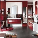 Dekoratif kırmızı modern banyo dolapları