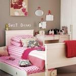 Duvar yazısı ile kız çocuk yatak odası dekorasyonu