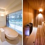 Evin banyo küveti ve saunasından bir görüntü