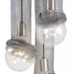 Gümüş renkli ince zincir işlemeli tavan lambası