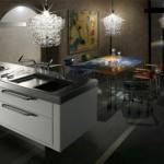 Gri beyaz modern japon mutfağı,