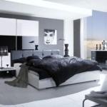 Gri beyaz renklerde modern italyan yatak odası tasarım