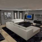 Gri ve beyaz renklerle modern salon dekorasyonu