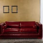 İtalyan tasarım klasik kırmızı renkli deri kanepe modeli
