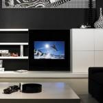 İtalyan tipi modern siyah beyaz renklerde tv ünitesi