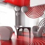 Kırmızı beyaz dekoratif ve modern oturma odası
