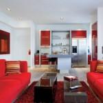Kırmızı beyaz modern salon dekorasyonu