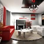 Kırmızı beyaz ve siyah renklerle modern salon dekorasyonu
