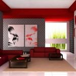 Kırmızı koltuklarla modern şık döşenmiş oturma odası
