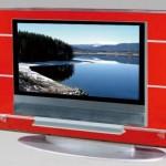 Kırmızı renkli tv cam stand modeli