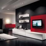 Kırmızı ve beyaz renklerde modern tv ünitesi