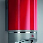 Kırmızı ve metal gri kaplamalı modern davlumbaz