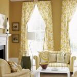 Kahve rengi sarı oturma odasi perde modeli