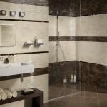 Kahverengi krem tonlarında fayans duş kabinli modern banyo