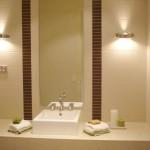 Kahverenkli yuvarlak ikili aplik banyo aydınlatıcısı