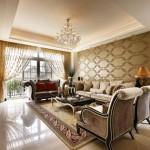 Klasik stilde tasarlanmış şık ve modern oturma odası dekorasyonu