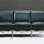 Klasik italyan tasarım siyah deri kanepe