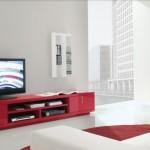 Koyu pembe renklerde modern tv ünitesi