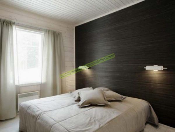 koyu renkli modern yatak odası için duvar kağıt modeli