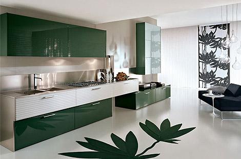 koyu renkli yeşil mutfak modeli
