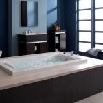 Mavi duvar krem renk fayns modern küvet