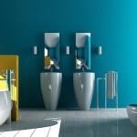 Mavi renkli banyo duvar tasarımı
