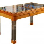 Modern açık kahve tonlarında üst cam yemek ve bilardo masası