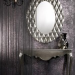 Modern baklava desenli gümüş oval ayna