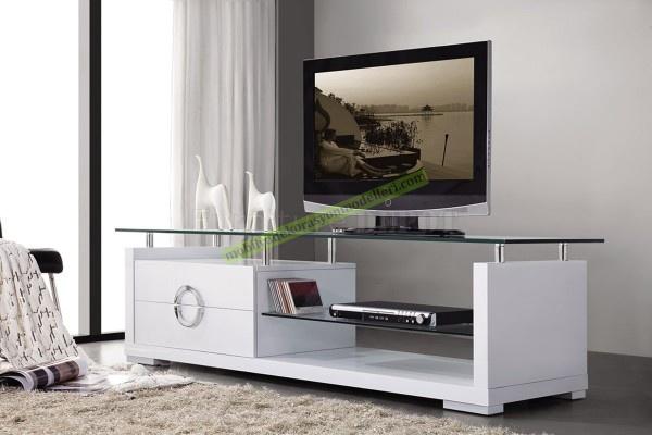 Modern beyaz renkli tv cam stand modeli
