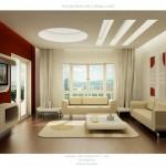 Modern beyaz ve kırmızı renklerle salon dekorasyonu