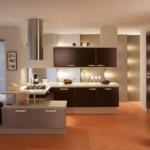 Modern dizayn edilmiş duvar yanları aydınlatıcılar ile mutfak tasarımı