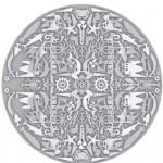Modern gri beyaz desenli yuvarlak halı