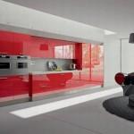 Modern italyan tasarım kırmızı parlak lake mutfak