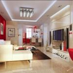 Modern kırmızı beyaz salon dekorasyonu