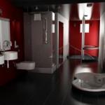 Modern kırmızı beyaz ve siyah farklı küveti ile banyo tasarımı