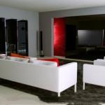 Modern kırmızı beyaz ve siyah renklerle salon dekorasyonu